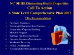nc dhhs eliminating health disparities call to action a state level comprehensive plan 2003