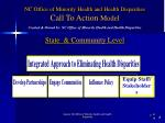 nc office of minority health and health disparities call to action model state community level