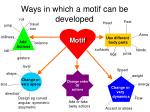 ways in which a motif can be developed20