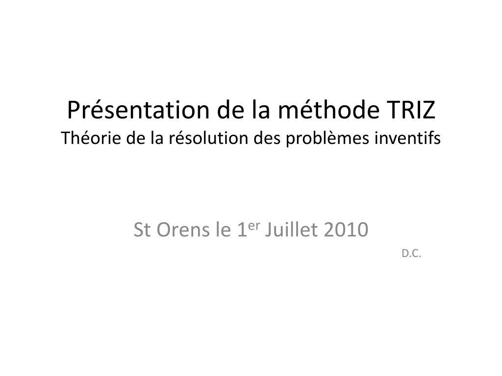 pr sentation de la m thode triz th orie de la r solution des probl mes inventifs l.