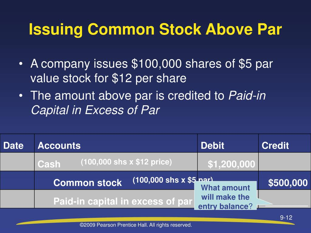 Issuing Common Stock Above Par