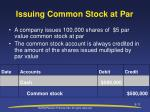 issuing common stock at par
