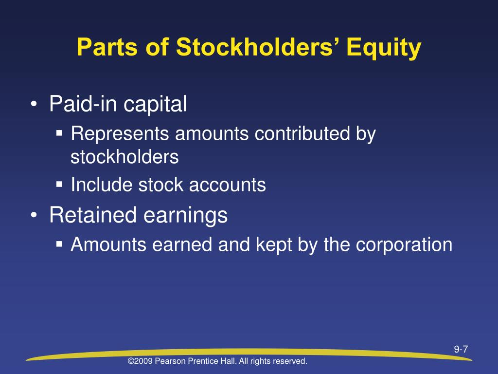 Parts of Stockholders' Equity