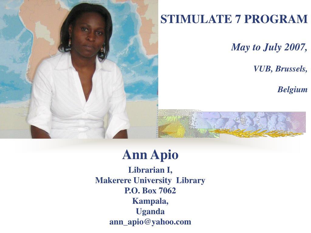 stimulate 7 program may to july 2007 vub brussels belgium l.