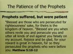 the patience of the prophets
