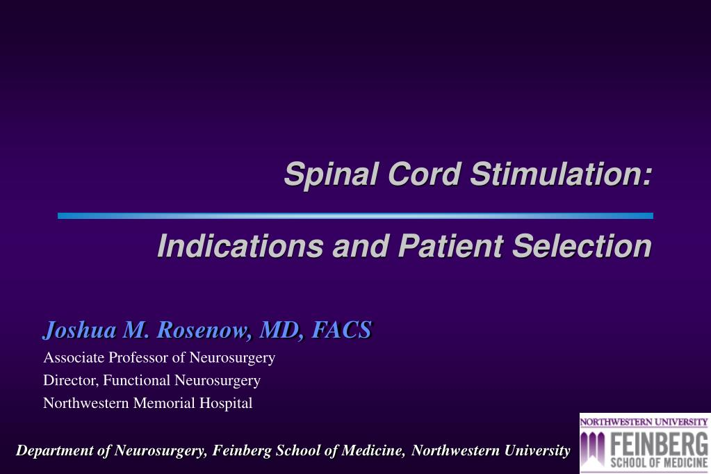 spinal cord stimulation indications and patient selection l.