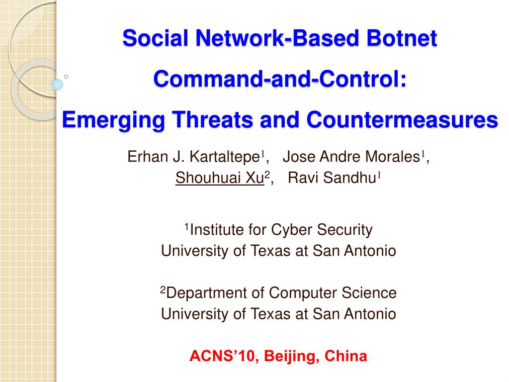 social network based botnet command and control emerging threats and countermeasures l.