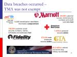 data breaches occurred tma was not exempt