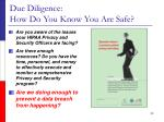 due diligence how do you know you are safe39