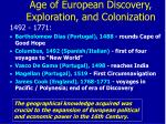 age of european discovery exploration and colonization
