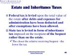 estate and inheritance taxes