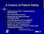 a culture of patient safety