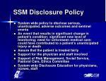 ssm disclosure policy