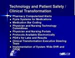 technology and patient safety clinical transformation