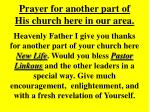 prayer for another part of his church here in our area17