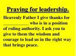 praying for leadership