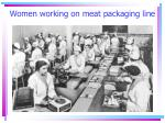 women working on meat packaging line