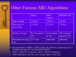 other famous md algorithms