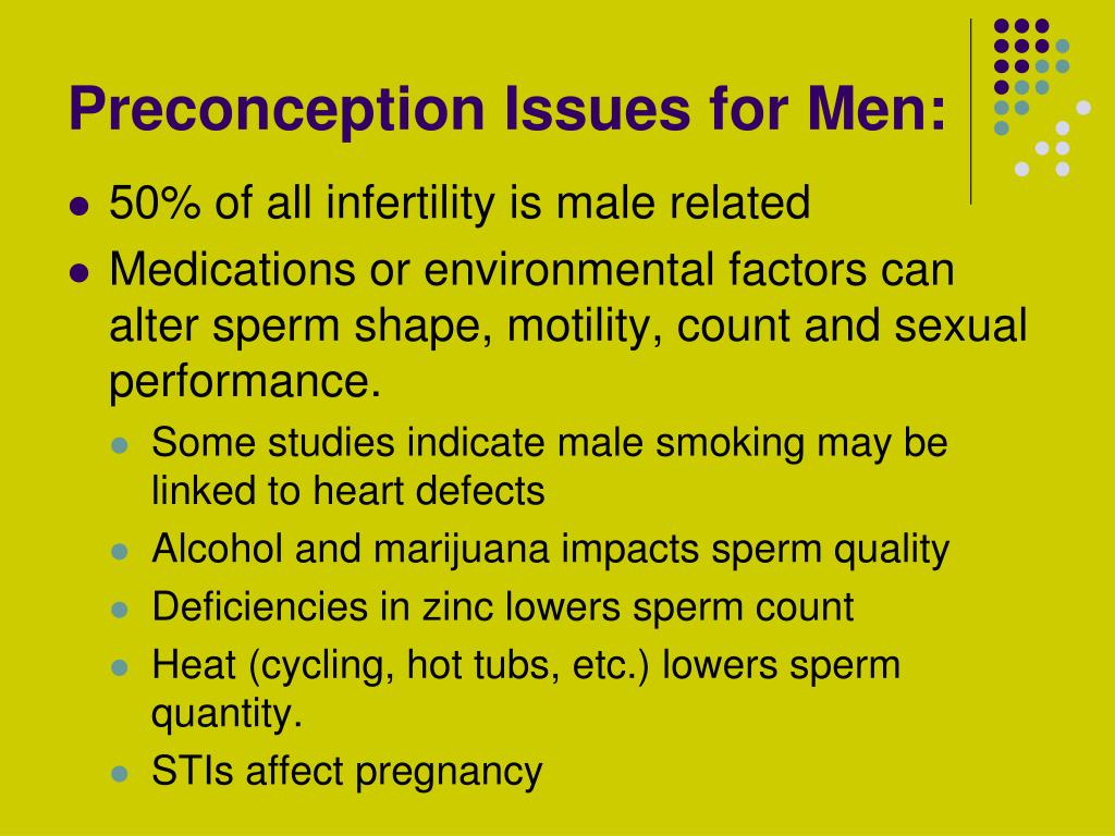 Preconception Issues for Men: