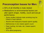preconception issues for men