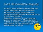 avoid discriminatory language