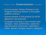 research action communication evaluation