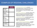examples of regional challenges