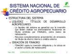 sistema nacional de cr dito agropecuario