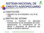 sistema nacional de credito agropecuario