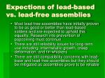 expections of lead based vs lead free assemblies