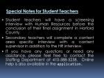 special notes for student teachers