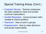 special training areas cont