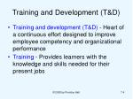 training and development t d