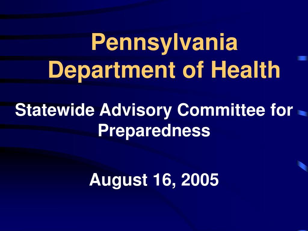 pennsylvania department of health l.