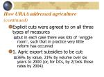 how uraa addressed agriculture continued
