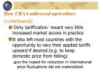 how uraa addressed agriculture continued19