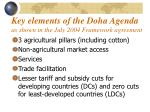 key elements of the doha agenda as shown in the july 2004 framework agreement