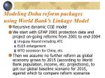modeling doha reform packages using world bank s linkage model