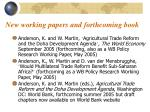 new working papers and forthcoming book