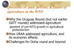 questions re past present future of agriculture in the wto