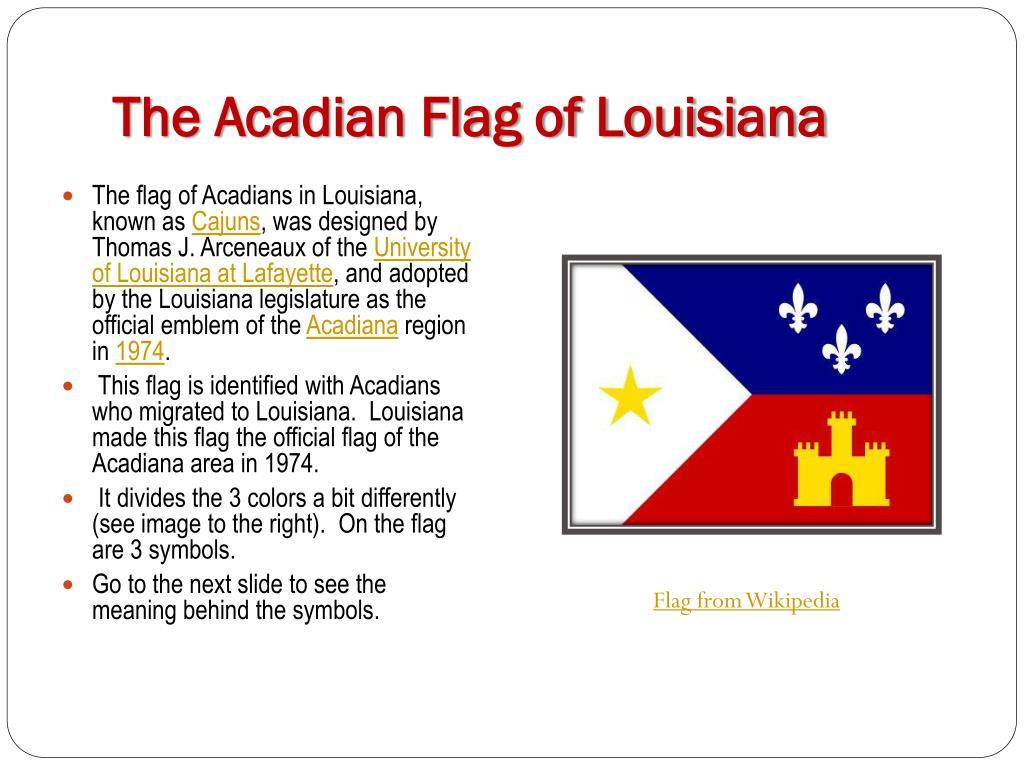 the acadian flag of louisiana l.
