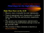 stellar evolution life after the main sequence final days for the high mass stars