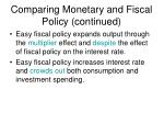 comparing monetary and fiscal policy continued