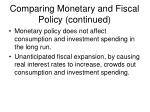 comparing monetary and fiscal policy continued22