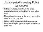 unanticipated monetary policy continued