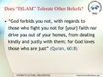 does islam tolerate other beliefs