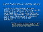 board awareness of quality issues