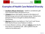examples of health care related diversity
