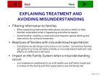 explaining treatment and avoiding misunderstanding
