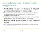 lessons for the state for intervention and governance